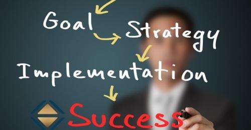 Geschäftsmann, der Geschäftskonzept schreibt (Vision - Mission - Ziel - Strategie - Umsetzung), Weg zum Erfolg