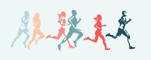 Schemenhafte Läufer und Läuferinnen